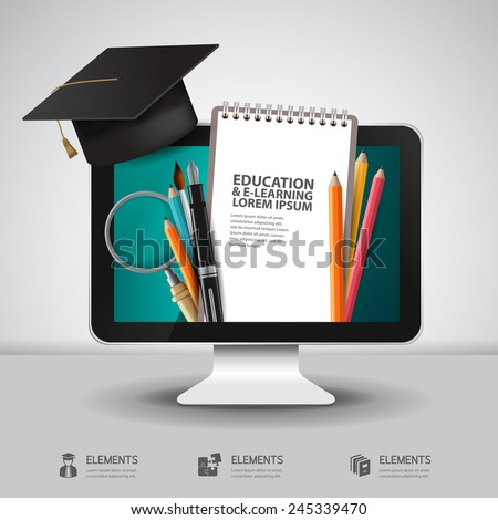 Vector Education school university e-learning concept with computer