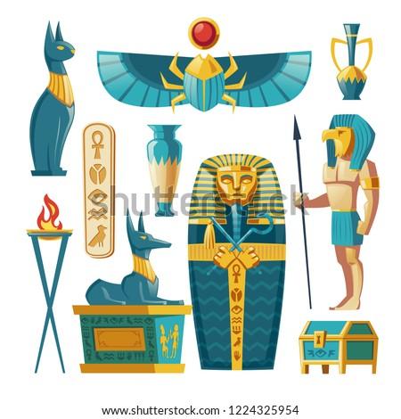 vector egyptian set   pharaoh