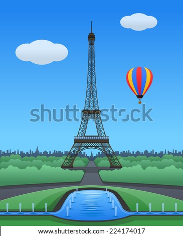 Vector Eiffel Tower Scenery in Paris on a Sunny Day Illustration
