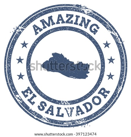 Vector El Salvador travel stamp. Vintage amazing El Salvador travel stamp with map outline. El Salvador travel round grunge sticker with country map.