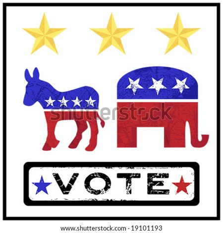 Vector Election Campaign Republican Democrat Grunge Elements