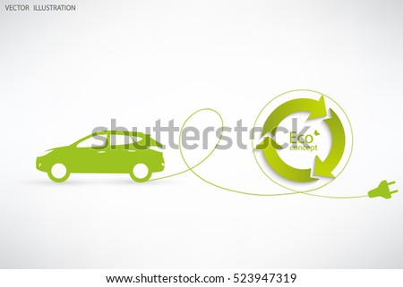 vector electric car green and