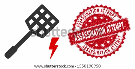 Vector electric fly killer icon and distressed round stamp seal with Assassination Attempt caption. Flat electric fly killer icon is isolated on a white background.