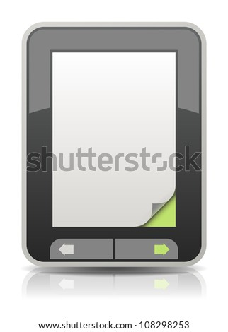 Vector electronic book reader with a curled page corner