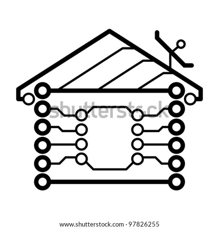vector electronic circuit board house logo