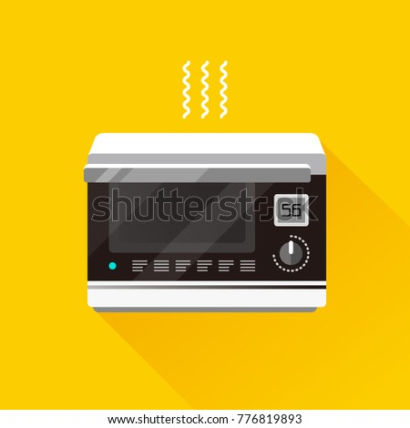 vector electronic oven / water oven with lcd liquid crystal display / flat, isolated, sign and icon template