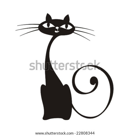 vector elegance cats silhouette