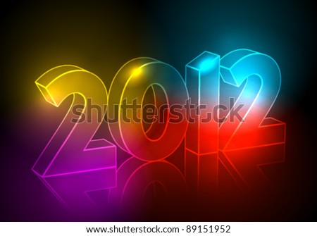 Vector elegant, abstract New Year's illustration made of neon light