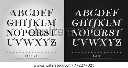Vector elegant alphabet letters set. Exclusive Custom Lettering Designs for logo, Poster, Invitation, etc. Typography font classic style, regular and italic vector illustrator