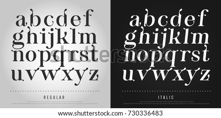 Vector elegant alphabet letters set. Exclusive Custom Letters. alphabet designs for logo, Poster, Invitation, etc. Typography font classic style, regular and italic vector illustrator.
