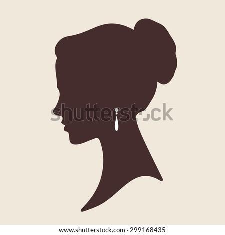 Vector elegant bride face silhouette