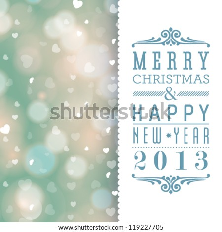 Vector elegant Christmas card with hearts and place for text.
