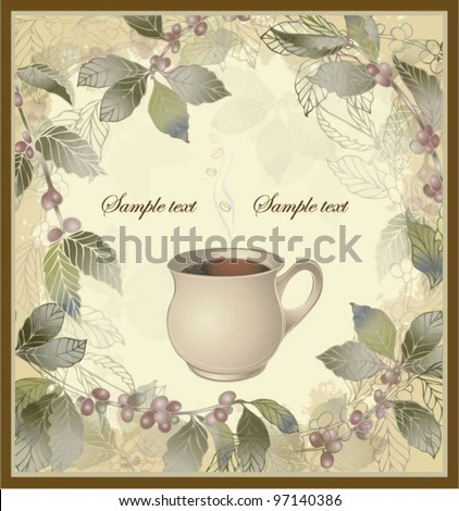 Vector elegant coffee themed background illustration . Illustration of a coffee tree.Menu.