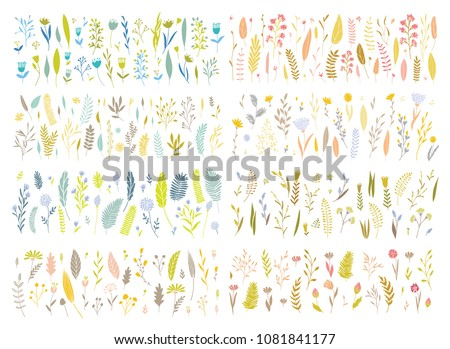 Vector elegant cute flower big collection. Feminine floral graphic design elements. Leaves and branches.