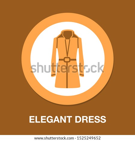 vector elegant dress template, design fashion woman illustration - beautiful womens coat silhouette