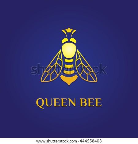 Queen Bee Logo logotype. Yello...