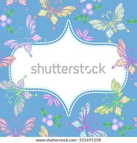 vector elegant floral seamless white lacy pattern with colorful butterflies and frame
