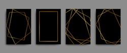 Vector elegant flyers, brochures, cards, poster, banners with gold geometric borders on black background. Vintage gold background. Geometric frame. Black Friday labels