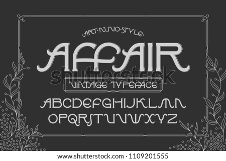 "Vector elegant font set named ""Affair"" with a foliage thin decorative frame"