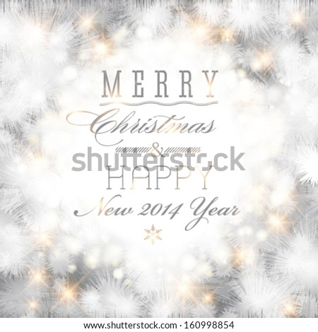Vector elegant glittery Merry Christmas and Happy New Year card design. Perfect as invitation or announcement.