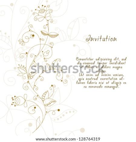 Vector Elegant Hand Drawn Floral Invitation, Wedding Or Gift Card ...