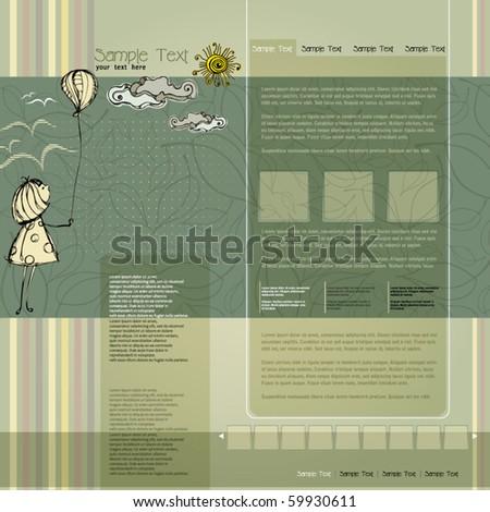 vector elegant modern website template with illustrated little girl