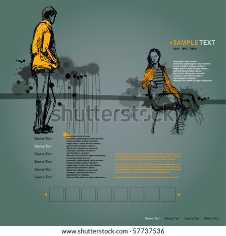 vector elegant modern website template with illustrated people and grunge background