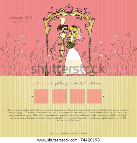 vector elegant retro website template with illustrated bride and groom