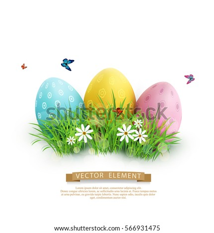 Vector element for design. Easter eggs in green grass with white flowers, butterflies isolated on white background.