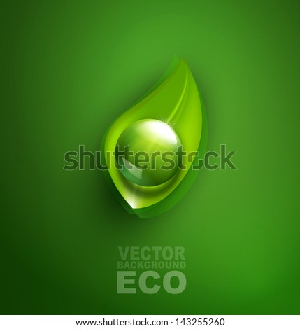 vector element for ecological design with a leaf and a drop of