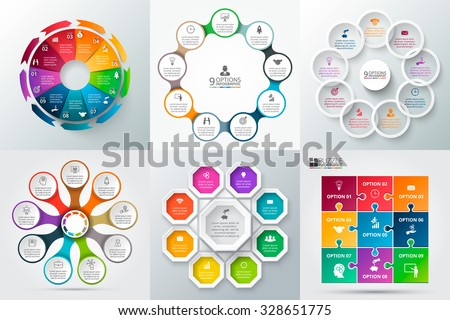 Shutterstock Vector elements for infographic. Template for cycle diagram, graph, presentation and round chart. Business concept with 9 options, parts, steps or processes. Abstract background.