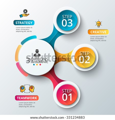 Vector elements for infographic. Template for diagram, graph, presentation and chart. Business concept with 3 options, parts, steps or processes. Abstract background.