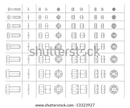Vector elements for your design. A set of drawings of bolts and nuts.