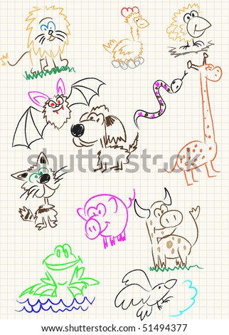 Vector elements of design stylised under children's drawing a pencil. A sketch of animals