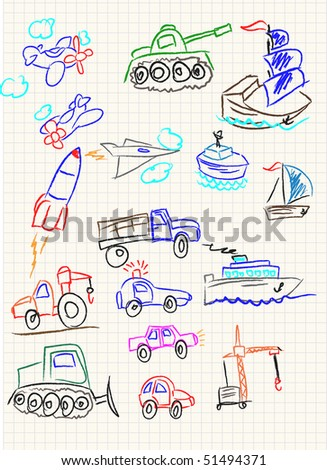 Vector elements of design stylised under children's drawing a pencil. The technics sketch.