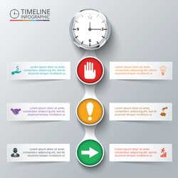 Vector elements with watch for timeline infographic. Template for diagram, graph, presentation and chart. Business concept with 6 options, parts, steps or processes. Abstract background.