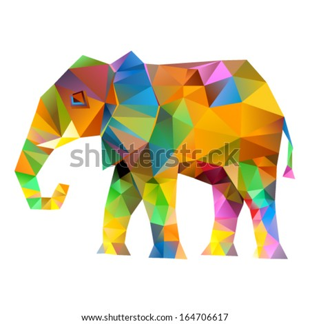 Vector - Elephant abstract isolated on a white backgrounds