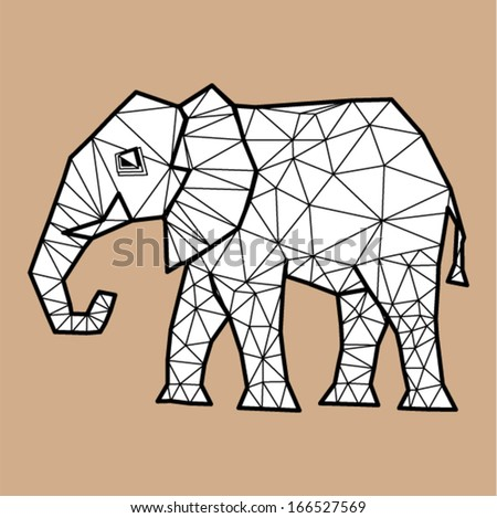 Vector - Elephant geometric (illustration of a many triangles )