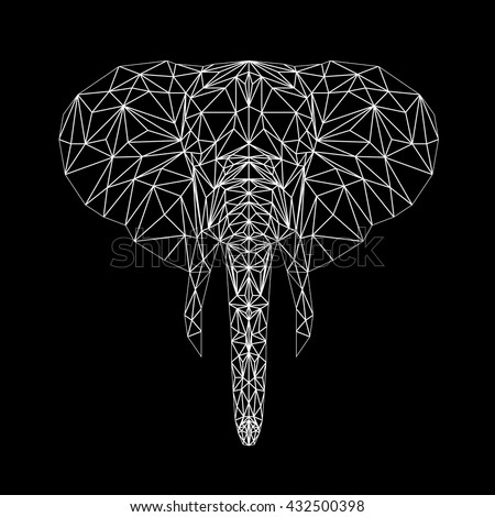 Vector elephant thin line style.  Elephant low poly design illustration. Abstract mammal animal. Elephant face silhouette for printing on t-shirts.