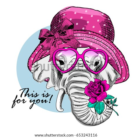 Vector elephant with pink glasses, hat and rose. Hand drawn illustration of dressed elephant.