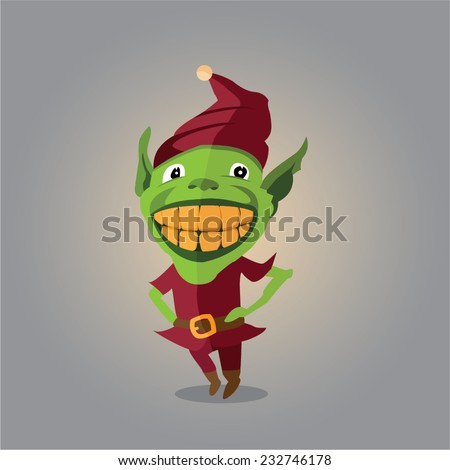 vector elf with a huge smile on