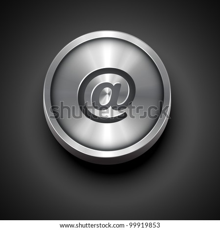 vector email metallic icon isolated on dark background
