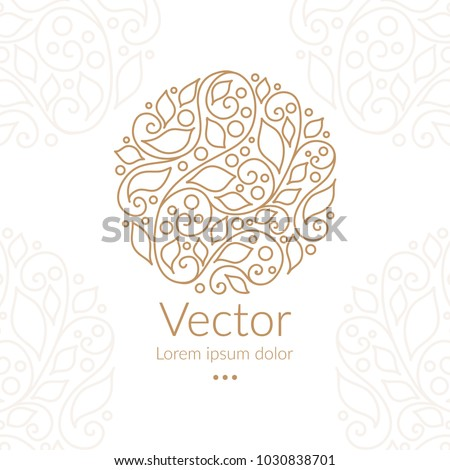 Vector emblem. Can be used for jewelry, beauty and fashion industry. Elegant, classic elements. Great for logo, monogram, invitation, flyer, menu, brochure, postcard, background, or any desired idea.