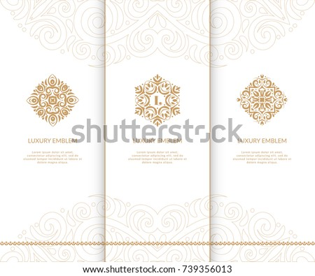 Vector emblem. Elegant, classic, lace elements. Can be used for jewelry, beauty and fashion industry. Great for logo, invitation, flyer, menu, brochure, postcard, background, or any desired idea.