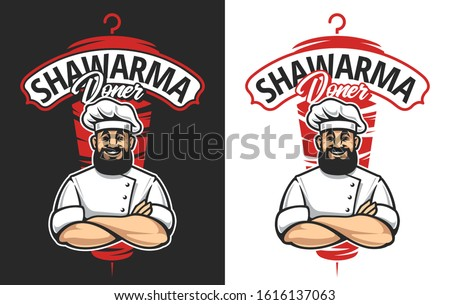 Vector emblem for shawarma cafe. Smiling bearded chef with crossed hands. Lettering and meat on backdrop. Doner kebab logo template.