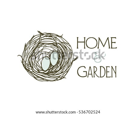 Vector Emblem Of Home And Garden Decor Business With Hand Drawn Birds Nest.  Beautiful Design