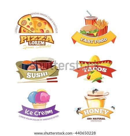 vector emblem set with food