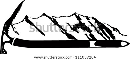 vector emblem with mountains
