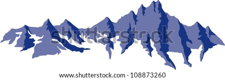 Vector emblem with range of mountains
