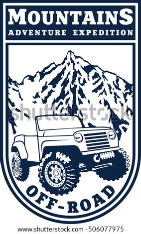 vector emblem with 4x4 vehicle